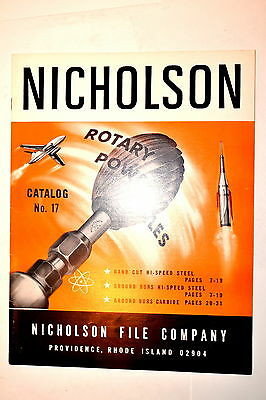 NICHOLSON ROTARY POWER FILES CATALOG No. 17 1968 #RR755 tips on use machinist