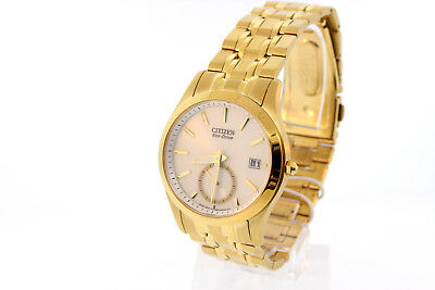 Men's Citizen BV1012-51P Eco-Drive Dress Gold-Tone Stainless White Dial Watch