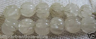 "12 Rare Real Vintage Old Natural Crystal Rock Quartz Carved Melon Beads 7"" Nepal"