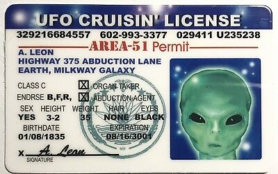 UFO Operator's License Novelty - Area 51 Permit - Funny UFO Space Monster