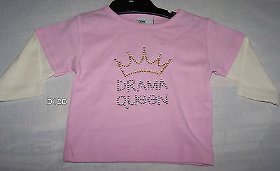 Girls Pink Cotton Drama Queen Long Sleeve T Shirt Top Size 00 New