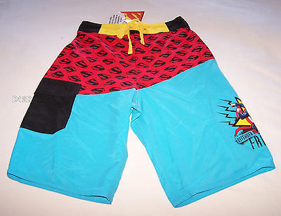 DC Comics Superman Boys Blue Red Printed Board Shorts Size 6 New