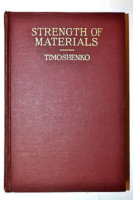 STRENGTH OF MATERIALS pt.2 ADVANCED THREORY by Timoshenko 3rd ed 1958 RR129 Book