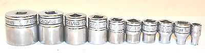 "USED Snap-On USA&CANADA 10PC 3/8"" DR 3/16-1"" 12-PT SHALLOW SOCKET GRP III $155"