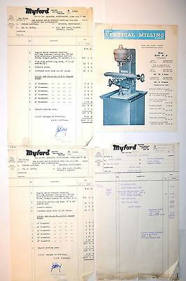 RAGLAN VERTICAL MILLING MACHINES FLYER 1968 & INVOICES #RR852 Miller