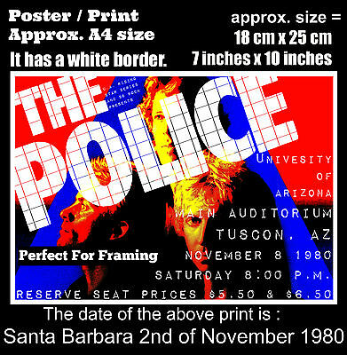 The Police live concert at Tucson Arizona 8th November 1980 A4 size poster print