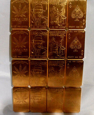 1 Lb. (16 oz) 4 Style 1 oz Divisible Cracker .999 Fine Copper Bullion Bar Ingot