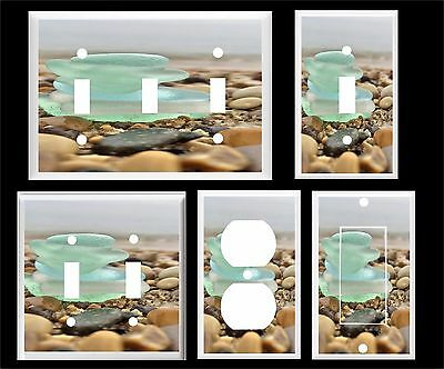 Beach Glass In A Stack Blue Green  Light Switch Cover Plate  You Pick Plate Size