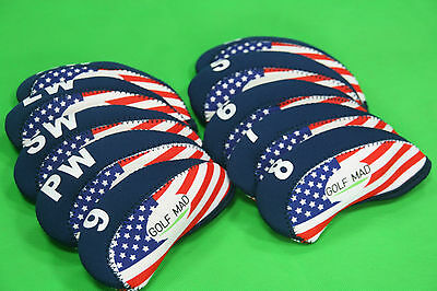 10 Golf Mad Iron Headcovers USA Flag for Ping Titleist Cobra ONLY