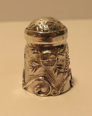 Ornate Vintage Sterling Silver Thimble Mexican Sewing Peter Pan Kisses Flowers
