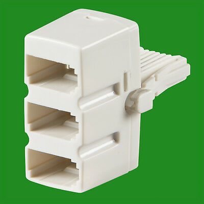 1x Triple BT Socket, Telephone Line Splitter, 3 Way, Adaptor Connection