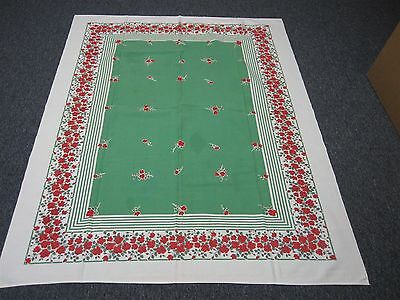 "VINTAGE GREEN & WHITE COTTON TABLECLOTH with RED ROSE BORDER 48"" X 62"""