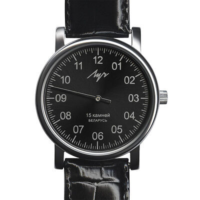 One Hand Luch Mechanical Wristwatch Men's leather Vintage Black 37471763 RUS