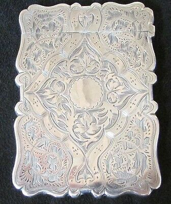 1876 English Sterling Silver Hinged Calling Card Case Elaborate Design Ex-Cond.