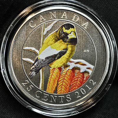 Canada 2012 Colorful Birds Rose Breasted Grosbeak 25 Cent Color Quarter in OGP