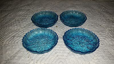 "Beautifu Antique Blue Cut Glass .75"" x 3"" SALTS x4  160601012"