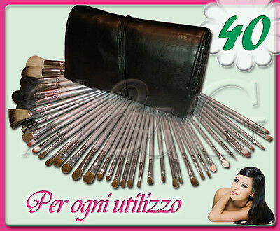 Kit Set 40 Pennelli Trucco Viso Make Up Professionali Con Astuccio Ecopelle