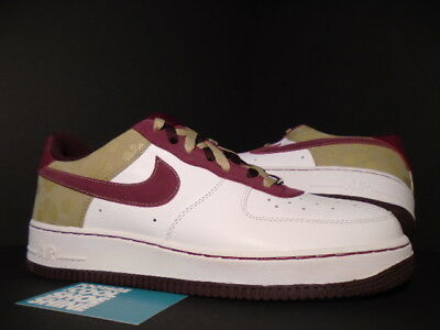 4e889eca51bd 2007 Nike Air Force 1  07 WHITE GARNET RED TWEED BROWN BURGUNDY FLORAL 12  10.5