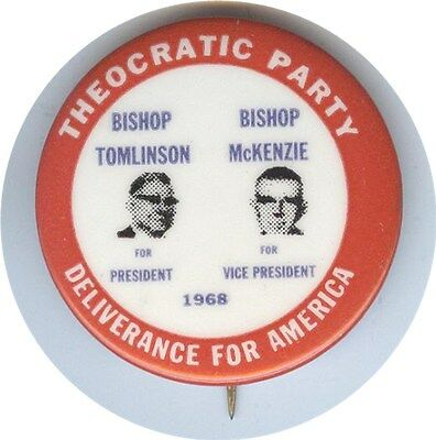 Theocratic Party Bishop Tomlinson For President Jugate Pin