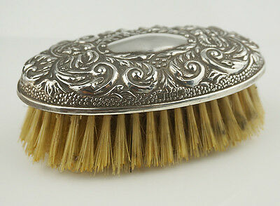 Ladies Sterling Silver Hallmarked 925 Bristle Grooming Brush Oval Top Repousse