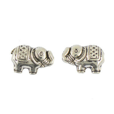 50pcs Tibetan Silver Elephant Spacer Charms Alloy Bead Jewelry DIY Makings