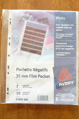 AVERY TRANSPARENT PROTECTIVE STORAGE OF 35mm NEGATIVES  PKS OF 10   BRAND NEW