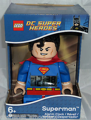 LEGO DC Super Heroes Superman large Minifigure Alarm Clock LED DC Comics NEW