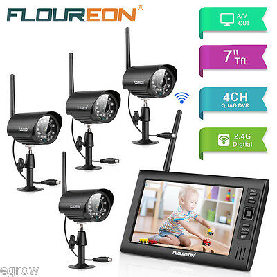 """Outdoor Wireless Digital DVR CCTV Camera Security System 7.0"""" LCD Monitor Record"""