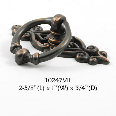 FURNITURE Hardware Drawer Ring Pull Oil Rubbed Bronze Backplate