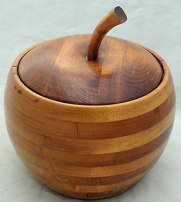 Baribocraft Apple Shaped Ice Bucket Wood Maple Staved Canada 60s Cork Lined Lid