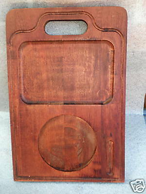 Baribocraft Cheese Serving Board 16in Teak Stained Maple Wood 1970s Canada Vtg