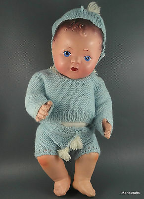 Reliable Boy Baby Doll Composite 12in c1940s Canada Jointed Blue Knit Outfit Vtg