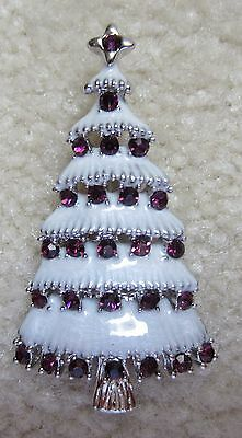 Vintage Style Victorian Christmas Tree Purple Austrian Crystal Brooch Pin