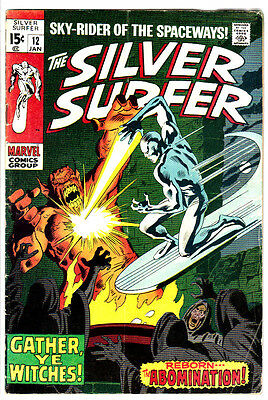 SILVER SURFER #12 (VG+) Abomination Cover Story Appearance! Jan,1970 Stan Lee