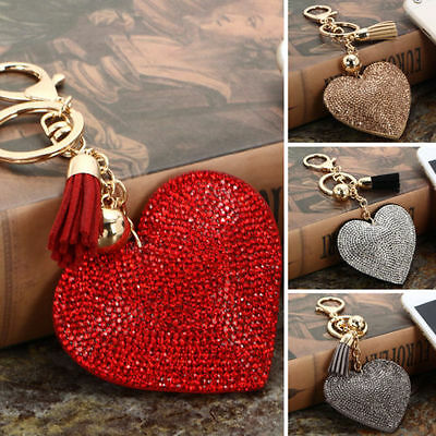 Diamante Heart Pendant Rhinestone Crystal Key Ring Handbag Car Key Charm Chain