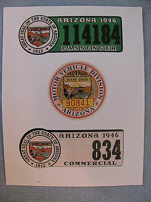 1944 &1946 Arizona License Plate Validation Windshield Decal Copies