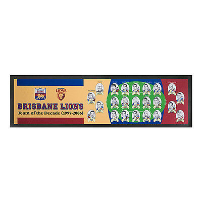Brisbane Lions AFL Team Of The Decade 1997-2006 Rubber Backed Bar Runner Mat New