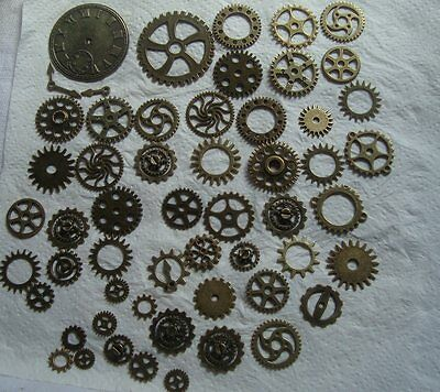 100 GRAMS OF STEAMPUNK COGS / GEARS  IN BRONZE  METAL ALLOY FROM 40mm to 8mm