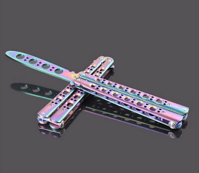 New Durable Knife Tool Rainbow Practice BALISONG METAL BUTTERFLY Sport Trainer
