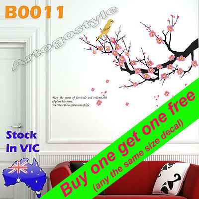 Wall Decal Sticker Living Dining room Lounge Home Decor Plum Blossoms Bird B0011