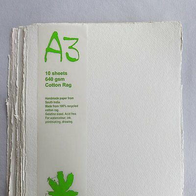 Khadi White Cotton Paper Pack 640gsm A3 10 Sheets. Artists Handmade Paper.