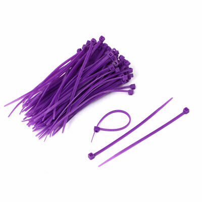 100mm Long Network Cable Cord Wire Zip Ties Straps Purple 100 Pcs