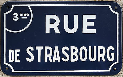 Old French enamel steel street road sign plaque plate name Rue Strasbourg Nantes