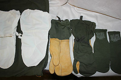 US Military Issue Sniper Leather Trigger Finger Shooting Gloves Mittens SET  NOS