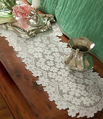 Floral Heritage Lace Dogwood Table Runner, Choice of Two Sizes in Ecru or White