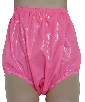 PVC Knickers Pants Panties Adult Baby Sissy Roleplay Hi Sides XXL Hot Pink Shiny