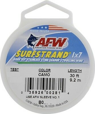 AFW SURFSTRAND BARE 1X7 STAINLESS STEEL WIRE LEADER 20, 30, 60lb-30ft CAMO #B0-0