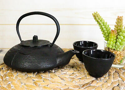 Japanese Tombo Dragonfly Black Heavy Cast Iron Tea Pot and Two Cups Set Asian