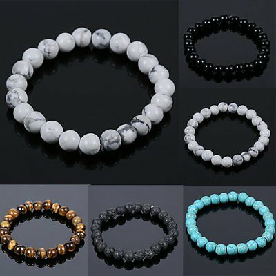 High Quality Men's Black Natural Lava Stone Buddha Beaded Bangle Women Bracelet