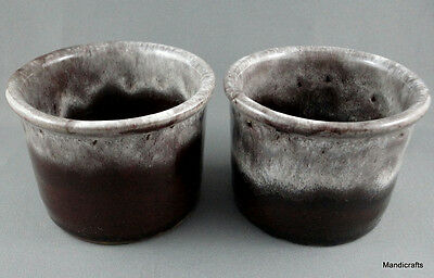 Evangeline Dip Cup x 2 Talarico Canuck Canada Art Pottery 1970s Brown White Drip